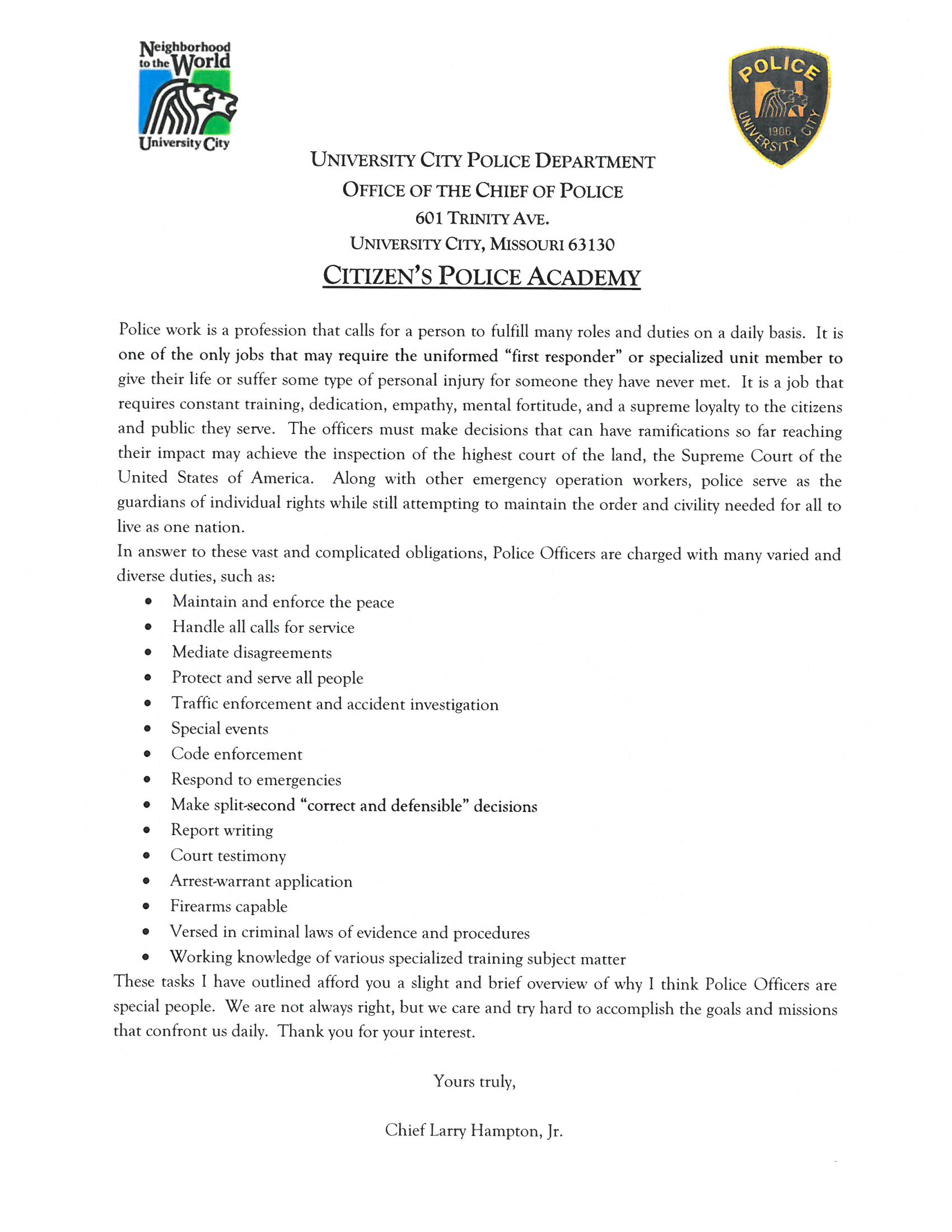 CitizensPoliceAcademy letter