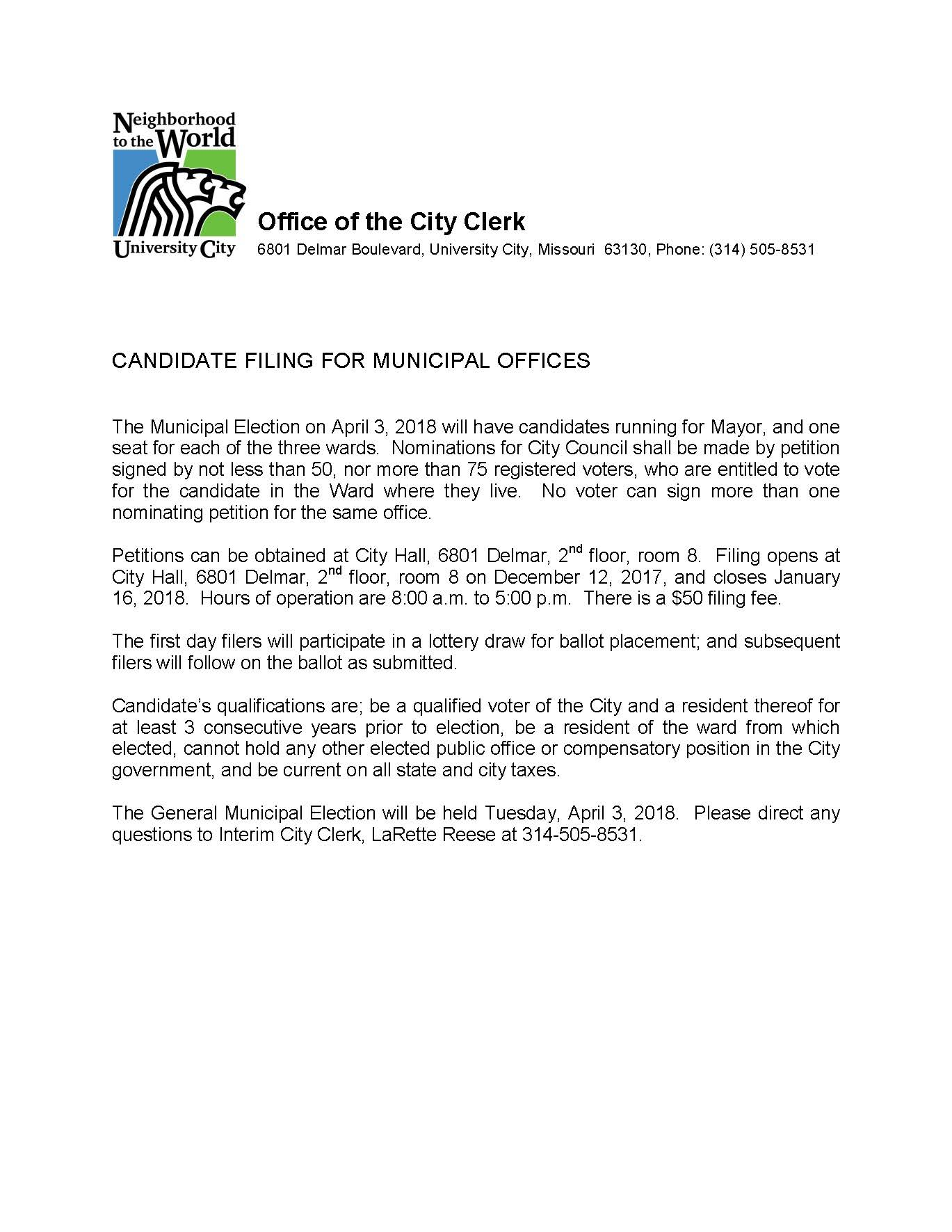 Candidate Filing Notice - April 3, 2018 Municipal Election